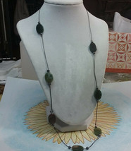 """Vintage Jewelry: 26"""" Corded Necklace W/ 3/4"""" Stone Beads 2016111606 - $7.91"""