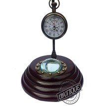 Vintage Mini Furniture Suitable Desk Wooden Mantle Clock Compass 12 Hour Working - $32.71