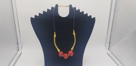 Vintage 1970-80s BOHO Black Leather W/ Gold Tone Bars & Red Beads Necklace - $25.14