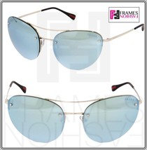 PRADA 51R Linea Rossa Spectrum Cat Eye Sunglasses Silver Green Mirrored PS51RS - $197.01