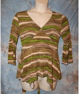 Womens Green Brown Striped JTB 3/4 Sleeve Shirt Size XL excellent - $6.92