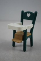 FISHER PRICE Loving Family Dollhouse Green & White Baby Highchair - $4.94