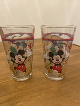 """Two Mickie Mouse Party Glass by Gibson 5.75""""tall GLASS China Disney Walt Disney - $13.10"""