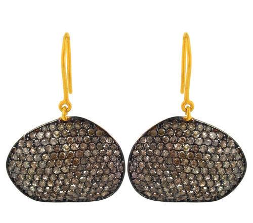 925 Sterling Silver Pave 3.94 Ct Diamond 14k Gold Hook Dangle Earrings Handmade - £662.85 GBP
