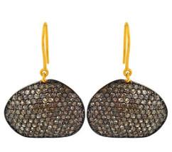 925 Sterling Silver Pave 3.94 Ct Diamond 14k Gold Hook Dangle Earrings H... - $843.46