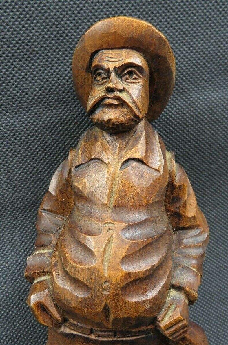 Antique 1900 German Black Forest Carved Wood Figural Chamois Horns Hook Rack image 2