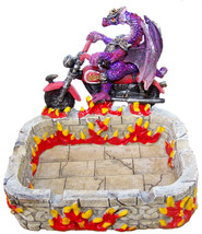 Dragon Motorcycle Rider in Armor on Flame Business Card Holder Ashtray 4... - $24.75