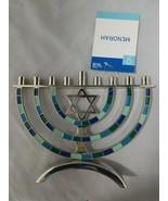 """Hanukkah Silver Metal Menorah Blue Green Pastel Design Star of David 9"""" ... - $19.80"""