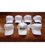 SET OF 7 white hat cap BRIDE SQUAD bachelorette bridesmaid gift bridal w... - $99.98