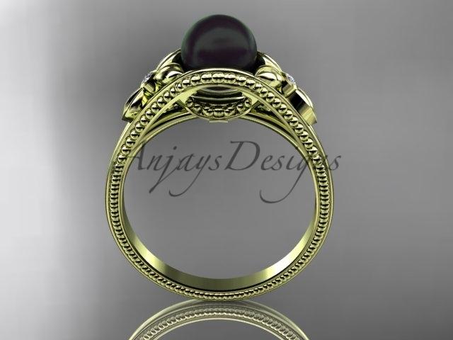 Flower engagement ring 14k yellow gold tahitian black pearl bridal ring ABP377