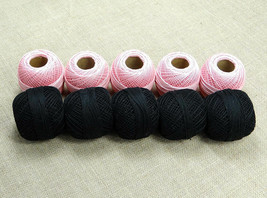 10 Cotton Yarn-5 Light Pink 5 Black-Tatting-Crochet Lace Knitting Thread... - ₹845.09 INR