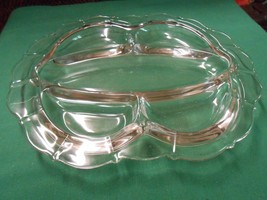 Great Heavy Glass 5 Section DIVIDED DISH Servin... - $12.46
