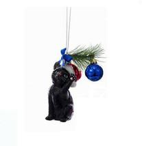 """KURT ADLER NOBLE GEMS 5"""" BLACK CHRISTMAS CAT KITTEN GLASS XMAS ORNAMENT  - $15.88"""