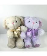 2 Bunny Rabbits Plush Stuffed Animals NEW Purple & Cream Sparkly Ears & ... - $10.92