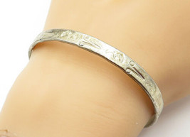 MEXICO 925 Silver - Vintage Crescent Moon Face Pattern Bangle Bracelet -... - $53.76