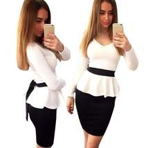 Black+White Long Sleeve Women Peplum Dress - $23.98