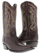 mens brown all real lizard armadillo skin leather western cowboy boots 3... - €149,40 EUR