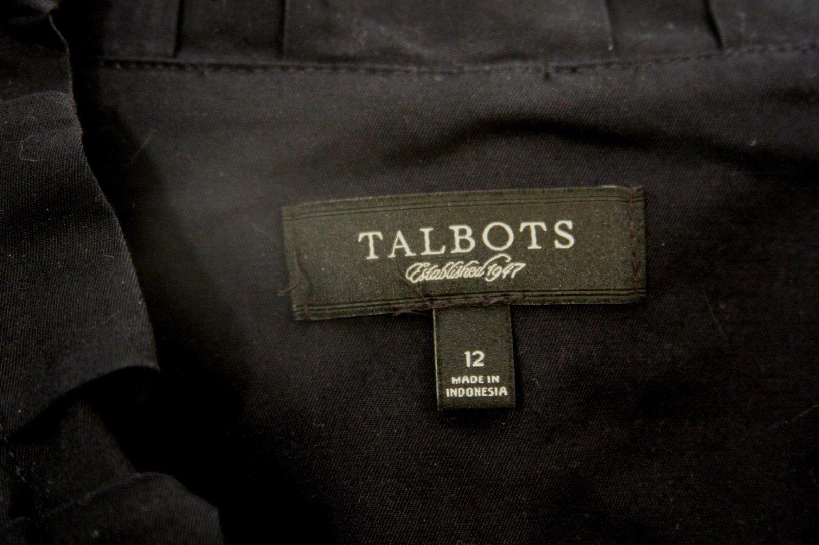 Talbots Ruffle Cotton Tailored Blazer Womens 12 Classic Grace Fit Navy Blue  image 2