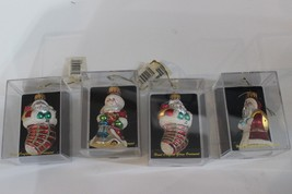 Vintage? CBK Ltd hand Crafted Glass Ornaments Santa w Stocking cases lot... - $19.95