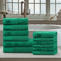 12-pc Gumdrop Green Honeycomb Jacquard & Solid Combed Cotton Towel Set - £39.26 GBP