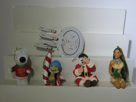 Lot of 5 Collectible Character Ornaments Brian Pocahontas Moe Jiminy Sta... - $23.71