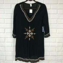 Forever 21 Black Dress Boho Crinkle Shift 3/4 Sleeve Lined Embroider Wom... - $24.70