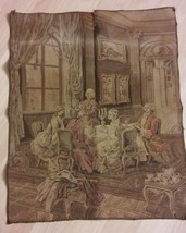 Vintage Belgium Tapestry - French Provincial Parlor Setting Sewn Fabric ... - $79.19