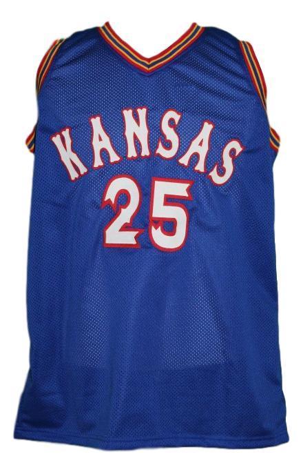 Danny manning  25 custom college kansas basketball jersey blue   1