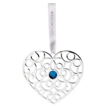 WEDGWOOD Silver Christmas Filigree Heart with Blue Crystal Ornament 2016... - $33.66