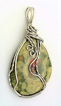 Rainforest Jasper Opal Titanium Copper Wire Wrap Pendant 16 - $27.94