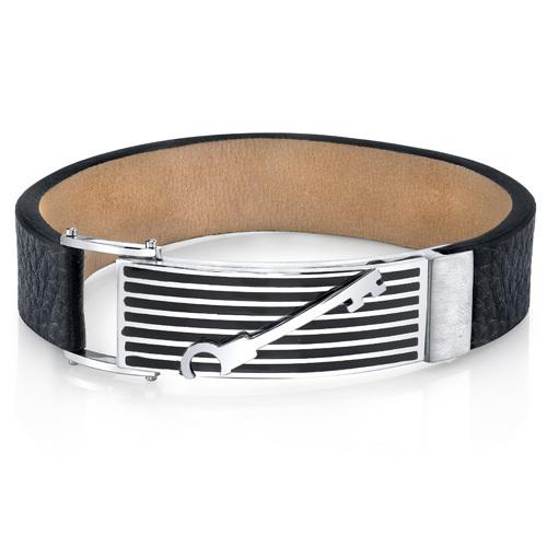 Mens Striped Key Black Leather & Stainless Steel Bracelet