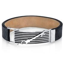 Mens Striped Key Black Leather & Stainless Steel Bracelet - $59.99