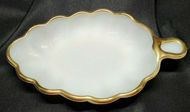 Vintage Milk Glass Candy Nut Dish Gold Trim Leaf Shaped