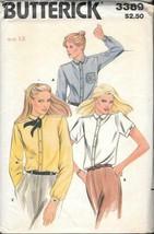 Vintage Butterick #3389 Classic Tailored Shirt & Monogram Transfer - Size 12 - $8.00
