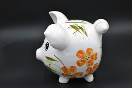 Vintage Style Retro Handpainted Ceramic Piggy Bank Orange Flowers - $15.82