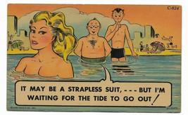 1952 Linen Curt Teich Comic Postcard- C-824 swimming lady beach - $9.99