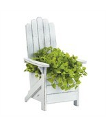 White Wood Adirondack Chair Planter - $42.44 CAD