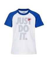 Nike Boys White JUST DO IT Raglan Short Sleeve T Shirt Size 6 New 86E767 - $14.84