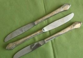 """Oneida Tudor Plate Together Pattern 3 Dinner Knives 1956 Floral 8 5/8""""  - $12.86"""