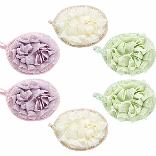 6 Pieces Bath Shower Pouf Sponge Mesh Pouf Shower Ball Exfoliating Body Loofah S