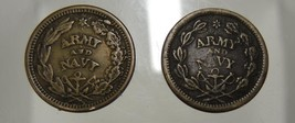 2 US Civil War Tokens Army & Navy The Federal Union We Must & Shall Be P... - $47.49