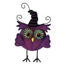 Halloween Cute Witchy Owl Greeter Standing Figure Decoration Purple - $29.98