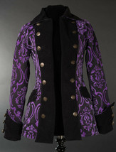 Black Purple Brocade Goth Victorian Jacket Steampunk Short Pirate Prince... - $119.99