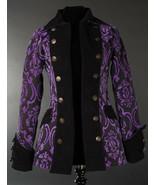 Black Purple Brocade Goth Victorian Jacket Steampunk Short Pirate Prince... - $119.99