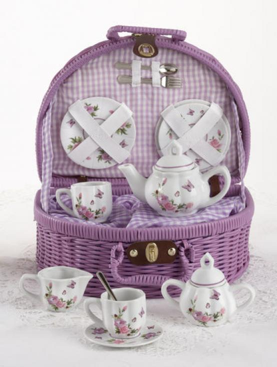 Image 0 of Delightful Delton Child's 'Butterfly Tea Set for Two, Posh Purple Basket 8089-7