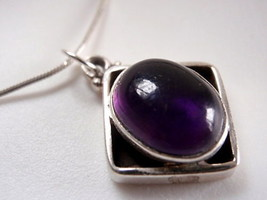 LAST ONE Amethyst Sterling Silver Necklace India New - $22.46