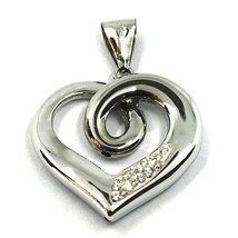 """SOLID 18K WHITE GOLD PENDANT HEART, SPIRAL, KNOT, CUBIC ZIRCONIA, 20mm, 0.8"""" image 1"""