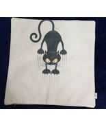 BLACK CAT SCRATCH Halloween Pillow Cover 17 In x 17 In LINEN - $12.87