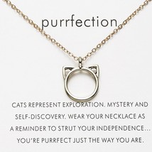 Fashion Paper Card Cute Cat Ear Adjustable Chain Alloy Necklacefor For Women Boh - $7.87