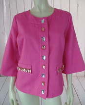 Laura Ashley Blazer M NEW Pink Textured Cotton Poly Stretch Faux Jewels RETRO! - $58.41
